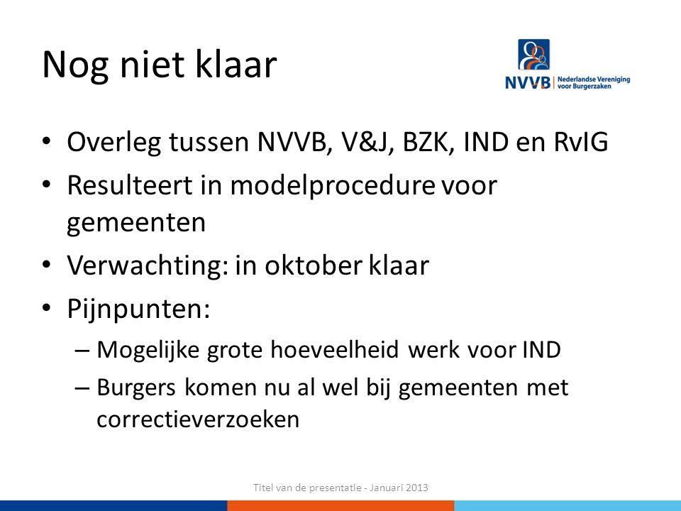 Nog niet klaar Overleg tussen NVVB, V&J, BZK, IND en RvIG Resulteert in modelprocedure voor gemeenten Verwachting: in oktober klaar Pijnpunten: – Moge