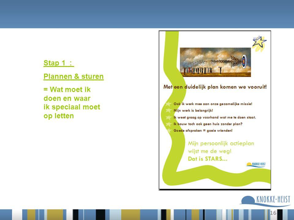 16 Stap 1 : Plannen & sturen = Wat moet ik doen en waar ik speciaal moet op letten