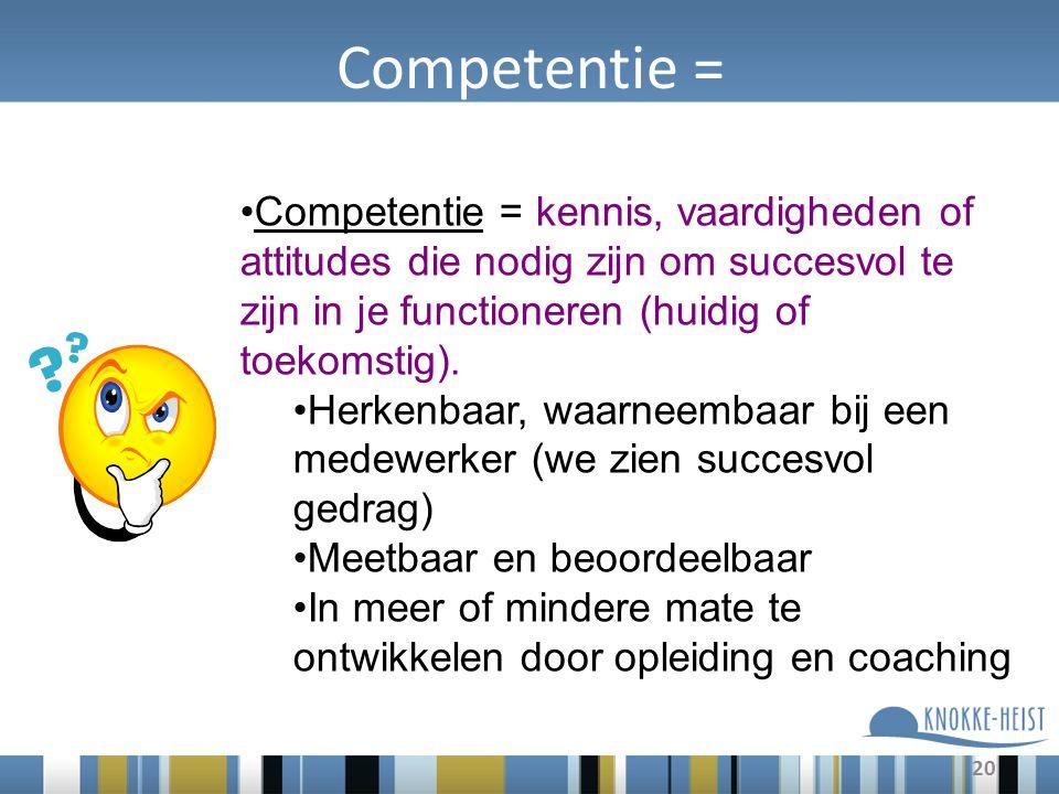20 Competentie = Competentie = kennis, vaardigheden of attitudes die nodig zijn om succesvol te zijn in je functioneren (huidig of toekomstig).