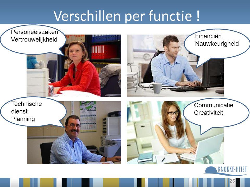 Verschillen per functie ! 26 Personeelszaken Vertrouwelijkheid Financiën Nauwkeurigheid Communicatie Creativiteit Technische dienst Planning