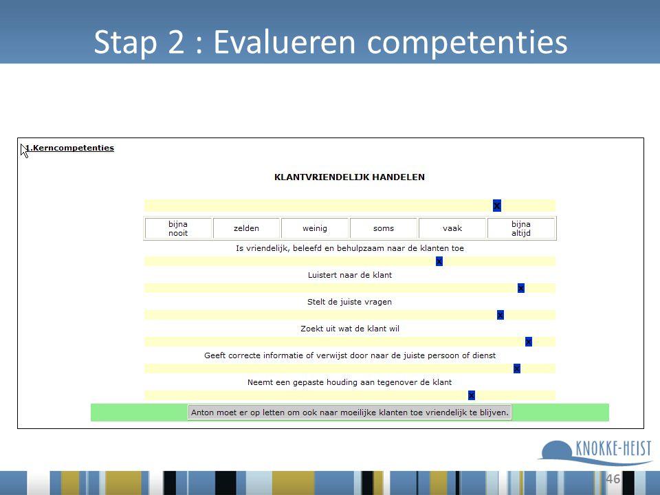 46 Stap 2 : Evalueren competenties