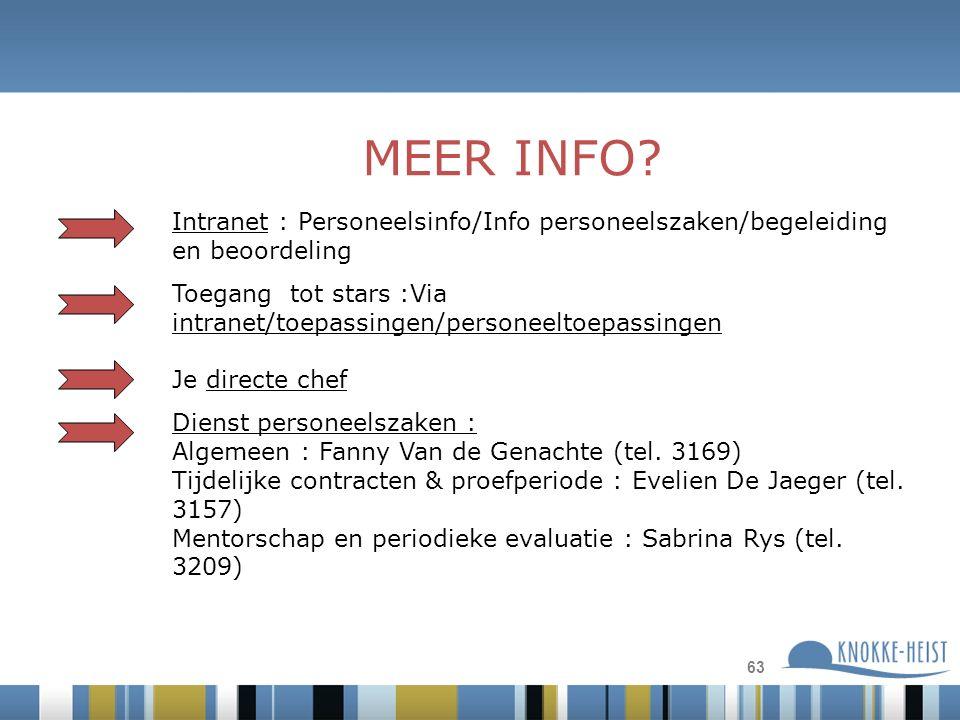 63 Intranet : Personeelsinfo/Info personeelszaken/begeleiding en beoordeling Toegang tot stars :Via intranet/toepassingen/personeeltoepassingen Je directe chef Dienst personeelszaken : Algemeen : Fanny Van de Genachte (tel.