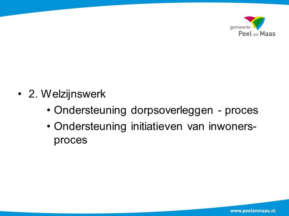 2. Welzijnswerk Ondersteuning dorpsoverleggen - proces Ondersteuning initiatieven van inwoners- proces