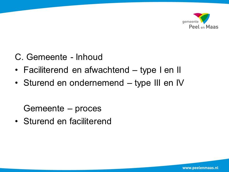 C. Gemeente - Inhoud Faciliterend en afwachtend – type I en II Sturend en ondernemend – type III en IV Gemeente – proces Sturend en faciliterend