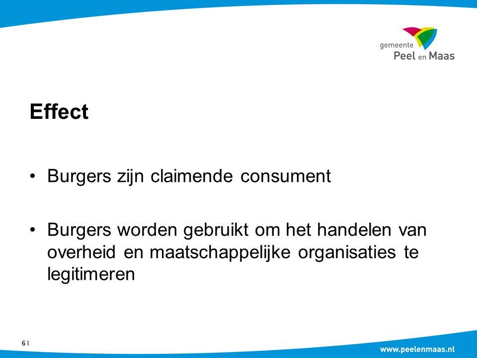 Effect Burgers zijn claimende consument Burgers worden gebruikt om het handelen van overheid en maatschappelijke organisaties te legitimeren 6 Ι