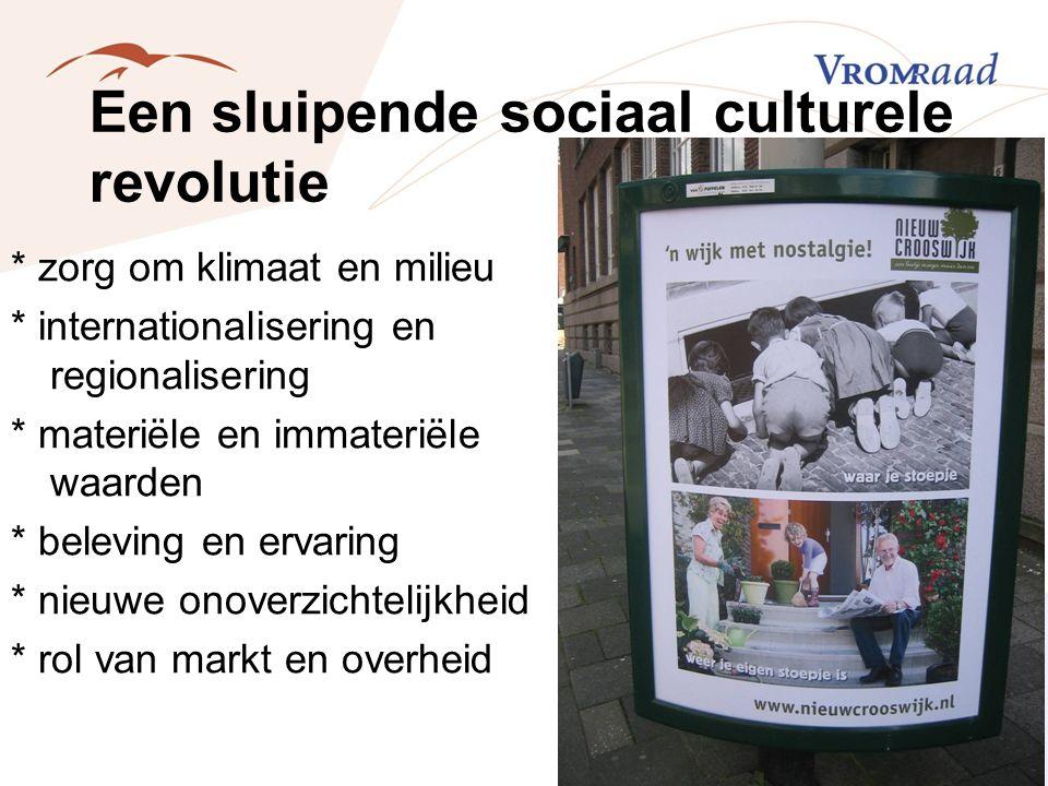 Een sluipende sociaal culturele revolutie * zorg om klimaat en milieu * internationalisering en regionalisering * materiële en immateriële waarden * b