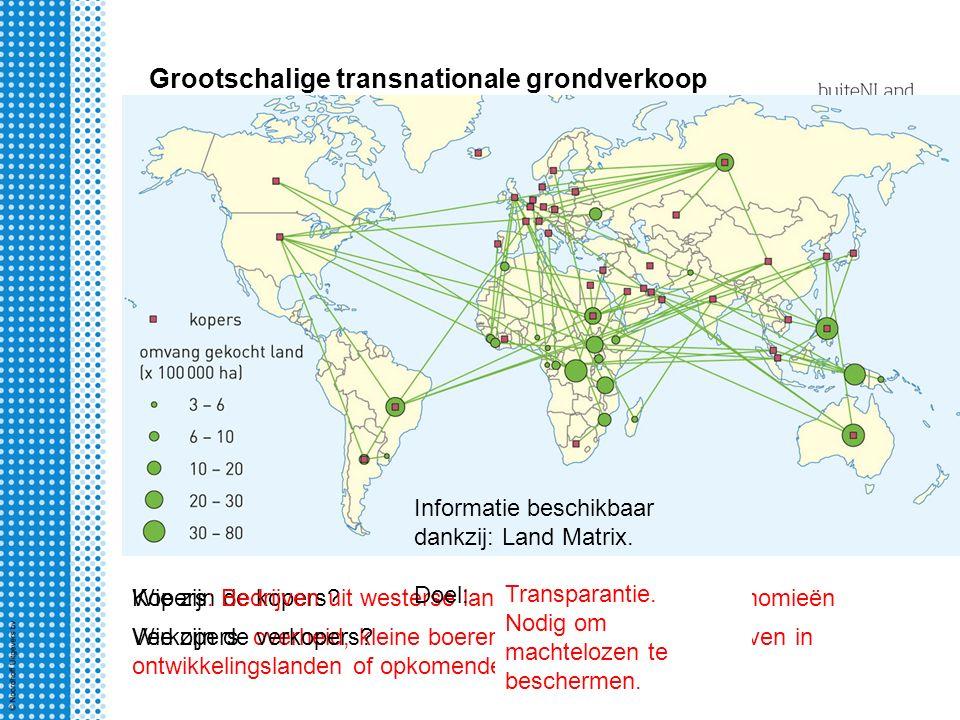Grootschalige transnationale grondverkoop Wie zijn de kopers?Kopers: Bedrijven uit westerse landen en opkomende economieën Verkopers: overheid, kleine