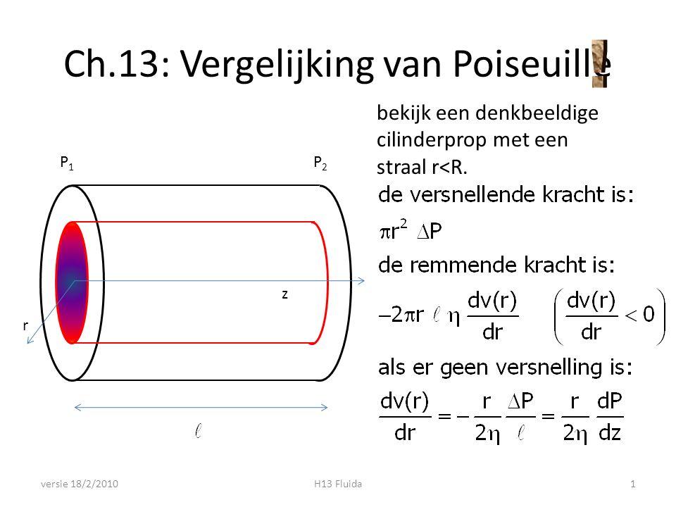 Vergelijking van Poiseuille versie 18/2/2010H13 Fluida2 z P1P1 P2P2 z r (controleer dimensies)
