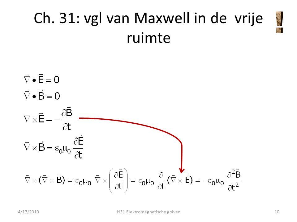 vgl van Maxwell in de vrije ruimte 4/17/2010H31 Elektromagnetische golven11