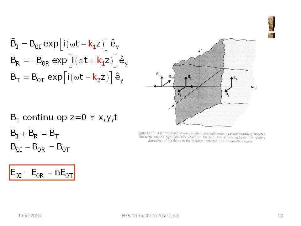 refectie en transmissie van elektromagnetische golven 1 mei 2010H35 Diffractie en Polarisatie21 Toon aan dat R + T = 1