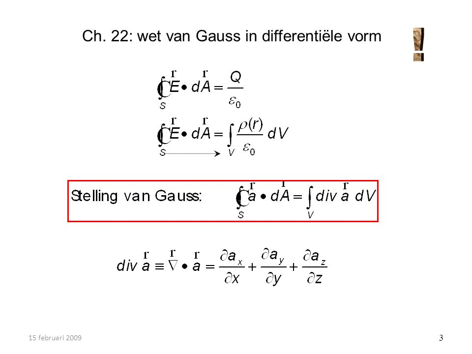 15 februari 2009 3 Ch. 22: wet van Gauss in differentiële vorm