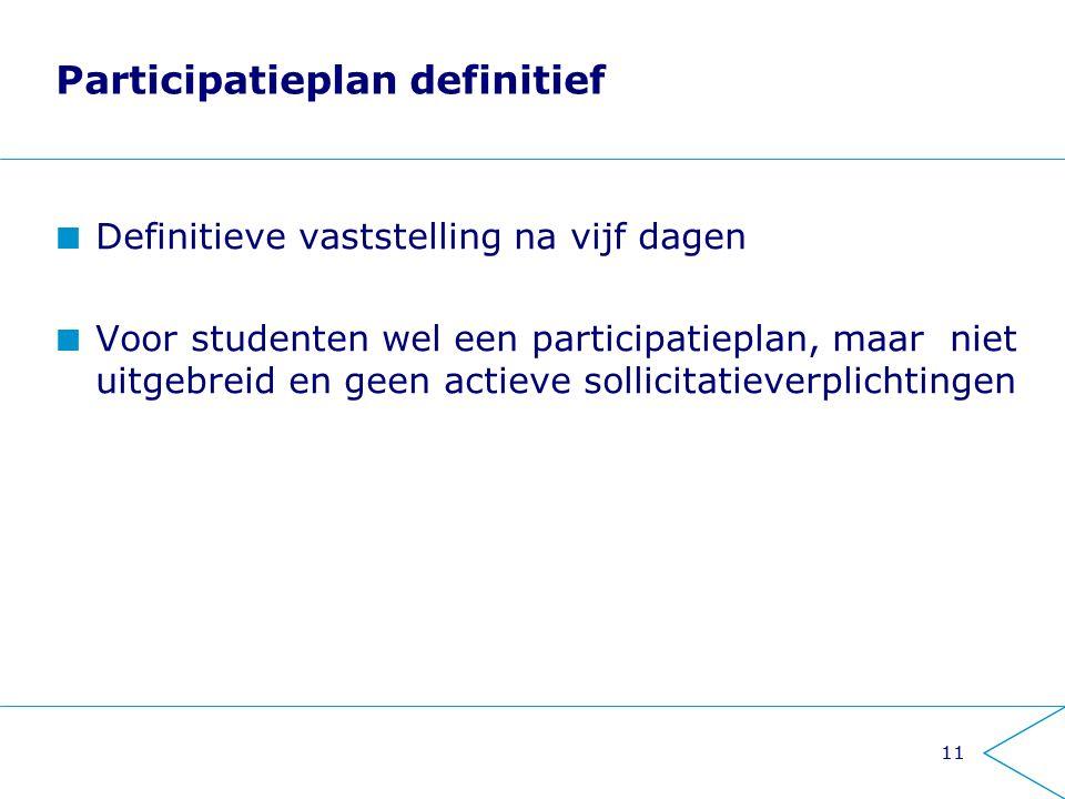 11 Participatieplan definitief Definitieve vaststelling na vijf dagen Voor studenten wel een participatieplan, maar niet uitgebreid en geen actieve sollicitatieverplichtingen