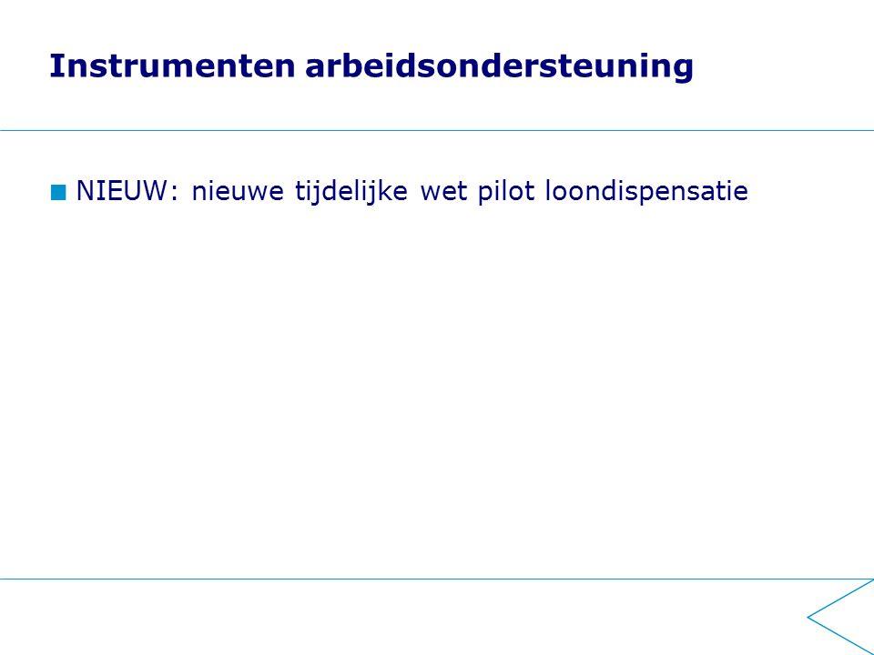 Instrumenten arbeidsondersteuning NIEUW: nieuwe tijdelijke wet pilot loondispensatie