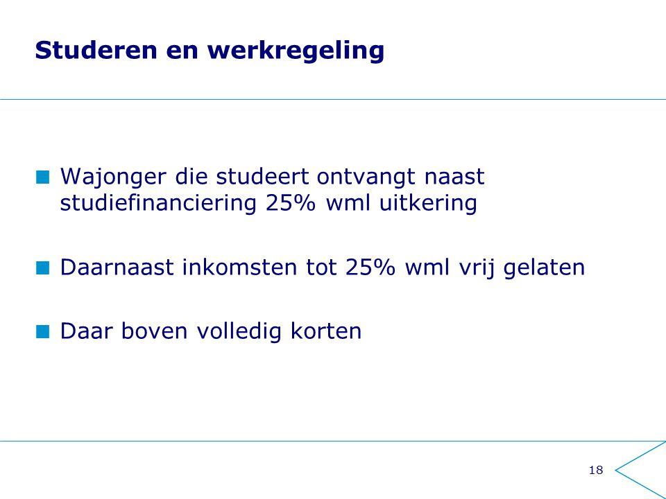 18 Studeren en werkregeling Wajonger die studeert ontvangt naast studiefinanciering 25% wml uitkering Daarnaast inkomsten tot 25% wml vrij gelaten Daa