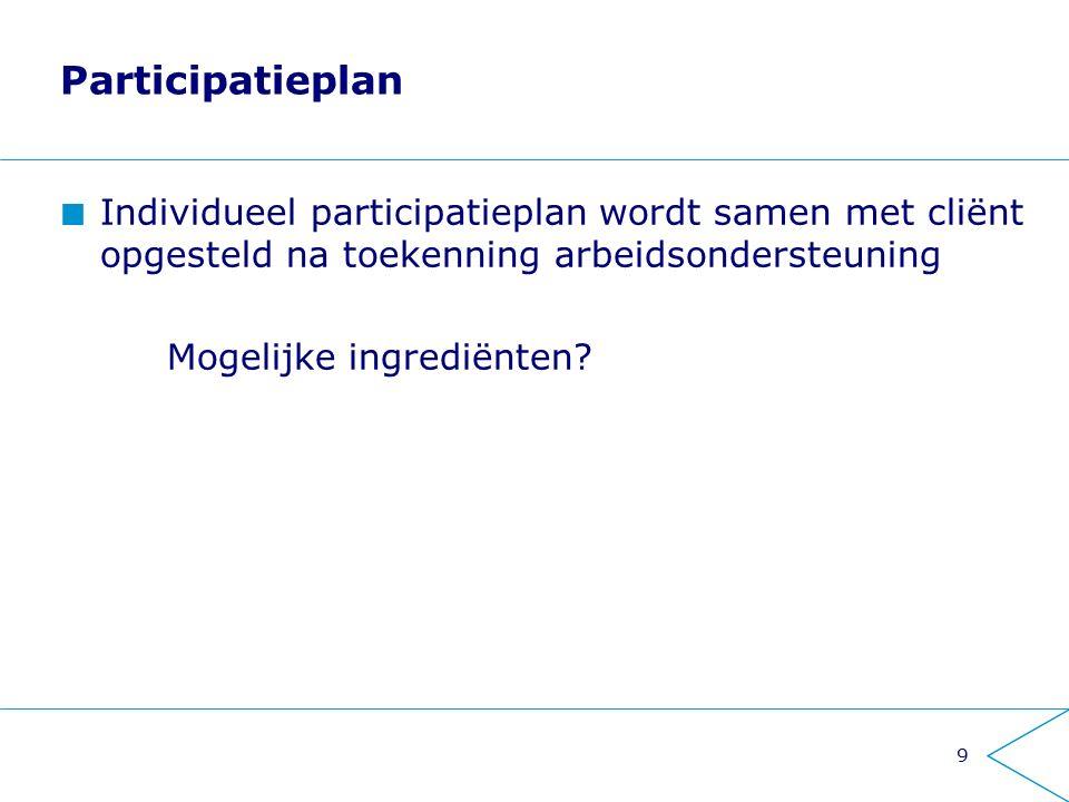 9 Participatieplan Individueel participatieplan wordt samen met cliënt opgesteld na toekenning arbeidsondersteuning Mogelijke ingrediënten?