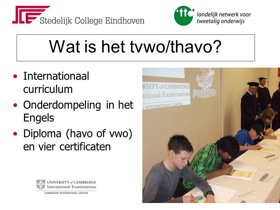 Wat is het tvwo/thavo? Leren buiten school Vaklessen zijn ook taallessen Projectmatig werken