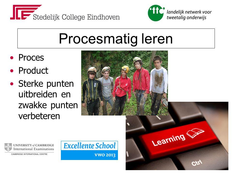 Procesmatig leren Proces Product Sterke punten uitbreiden en zwakke punten verbeteren