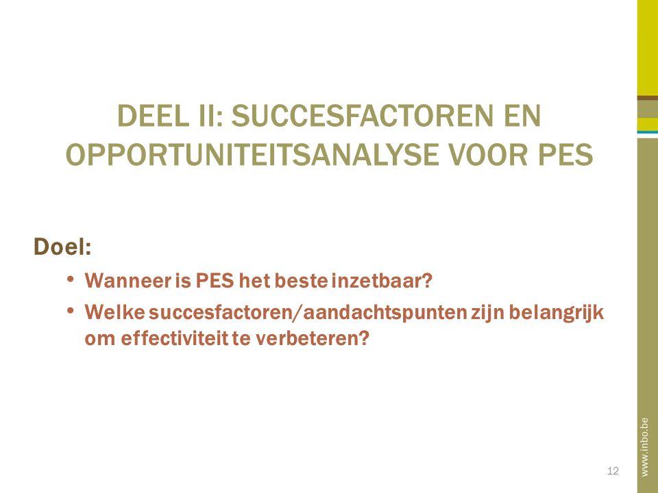 12 DEEL II: SUCCESFACTOREN EN OPPORTUNITEITSANALYSE VOOR PES Doel: Wanneer is PES het beste inzetbaar.