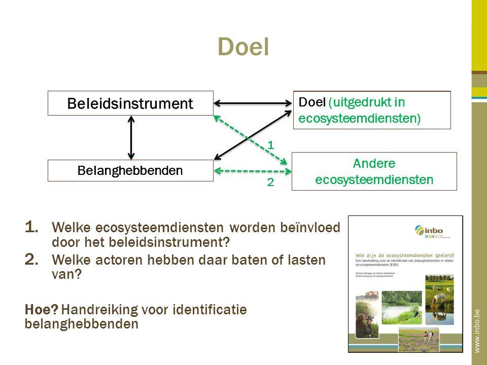 Doel 1. Welke ecosysteemdiensten worden beïnvloed door het beleidsinstrument.