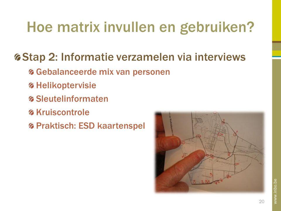 20 Hoe matrix invullen en gebruiken.