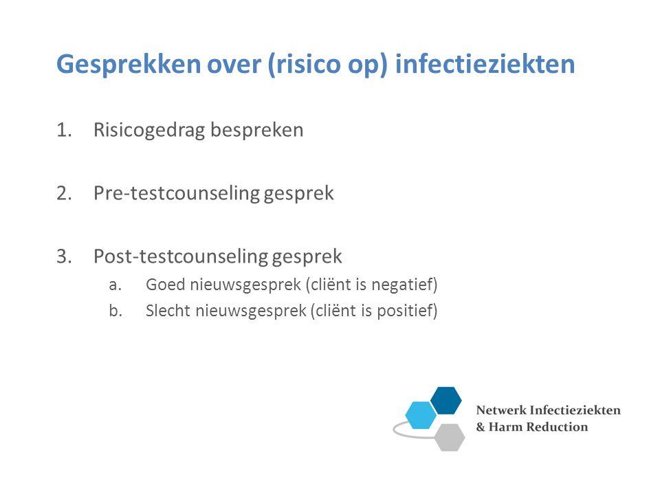Gesprekken over (risico op) infectieziekten 1.Risicogedrag bespreken 2.Pre-testcounseling gesprek 3.Post-testcounseling gesprek a.Goed nieuwsgesprek (cliënt is negatief) b.Slecht nieuwsgesprek (cliënt is positief)