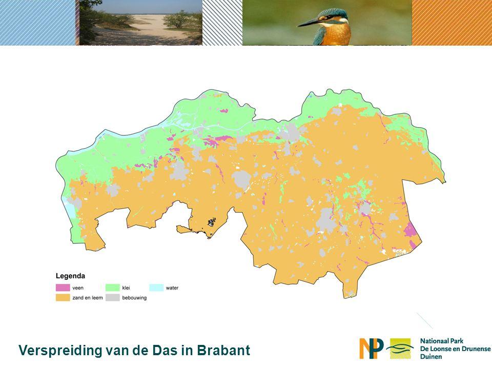 1900 Verspreiding van de Das in Brabant lichtgroen = verspreiding das