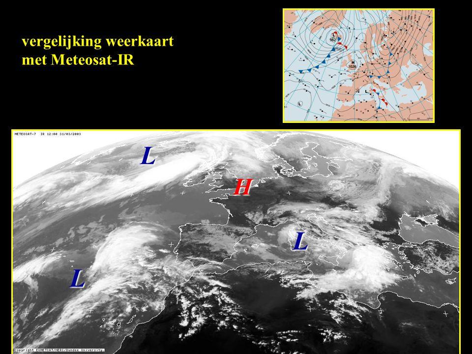 vergelijking weerkaart met Meteosat-IR H L LL