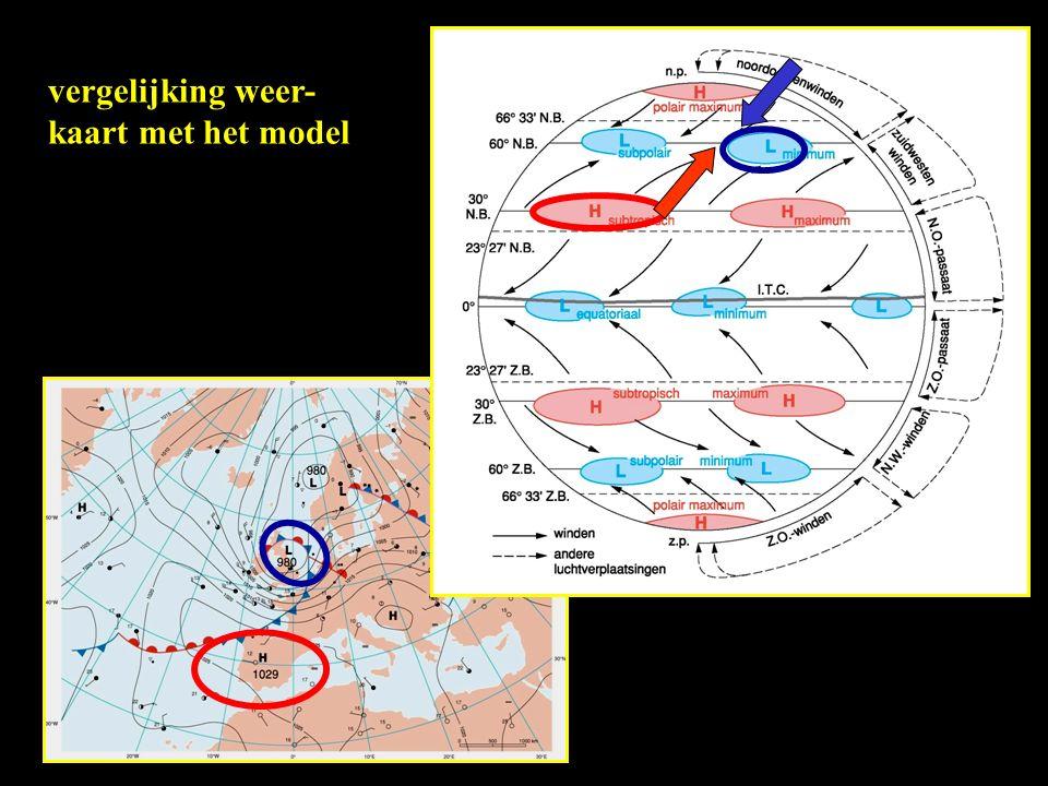 vergelijking weer- kaart met het model