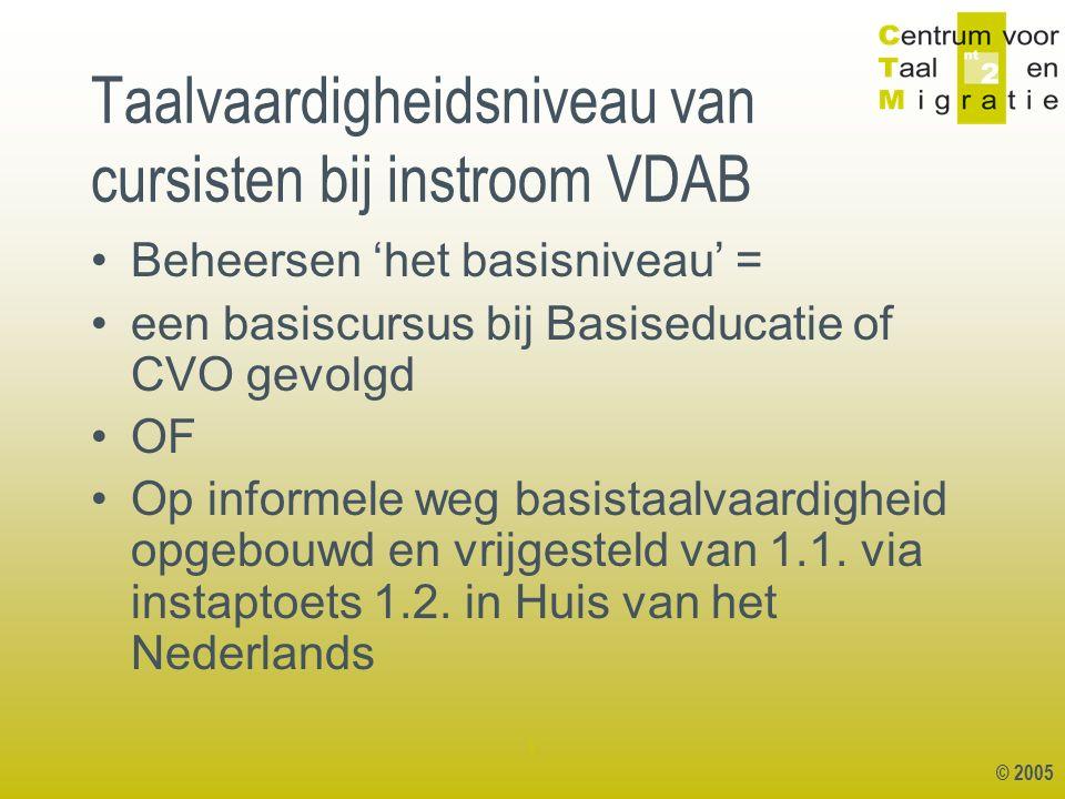 © 2005 1 Taalvaardigheidsniveau van cursisten bij instroom VDAB Beheersen 'het basisniveau' = een basiscursus bij Basiseducatie of CVO gevolgd OF Op informele weg basistaalvaardigheid opgebouwd en vrijgesteld van 1.1.