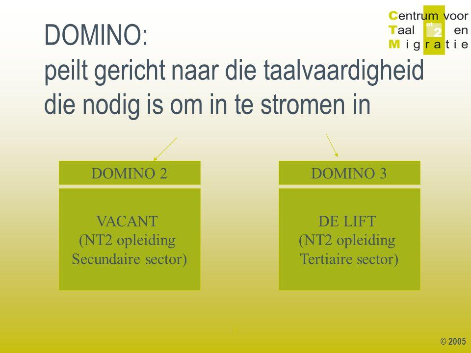 © 2005 1 DOMINO: peilt gericht naar die taalvaardigheid die nodig is om in te stromen in VACANT (NT2 opleiding Secundaire sector) DE LIFT (NT2 opleidi