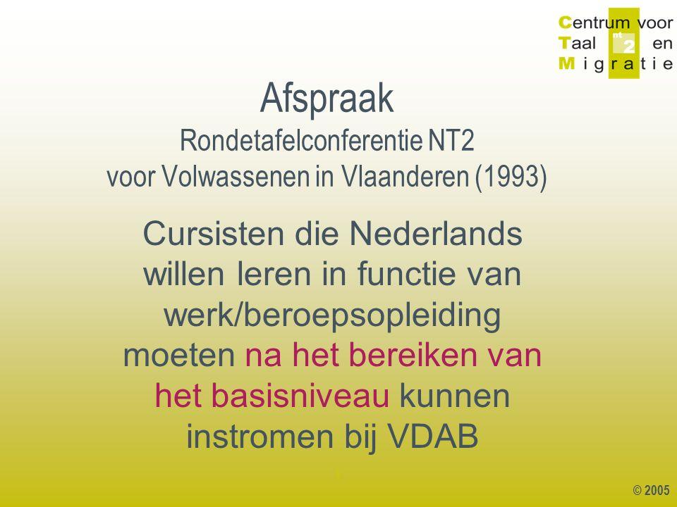 © 2005 1 Basiscursus NT 2 bij CVO of BE Basisniveau VLOR / richtgraad 1 niveau 1.1 BEHOEFTEGERICHTE NT2 schakelopleiding Beroepsopleiding (bv lasser, boekhouding,..)