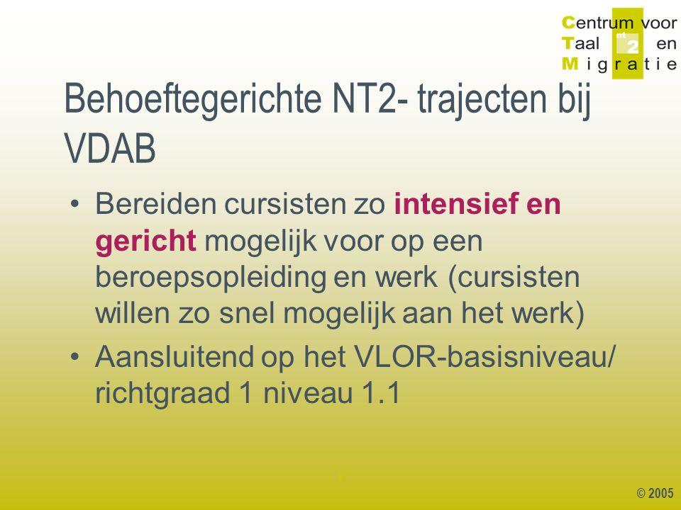 © 2005 1 Behoeftegerichte NT2- trajecten bij VDAB Bereiden cursisten zo intensief en gericht mogelijk voor op een beroepsopleiding en werk (cursisten willen zo snel mogelijk aan het werk) Aansluitend op het VLOR-basisniveau/ richtgraad 1 niveau 1.1