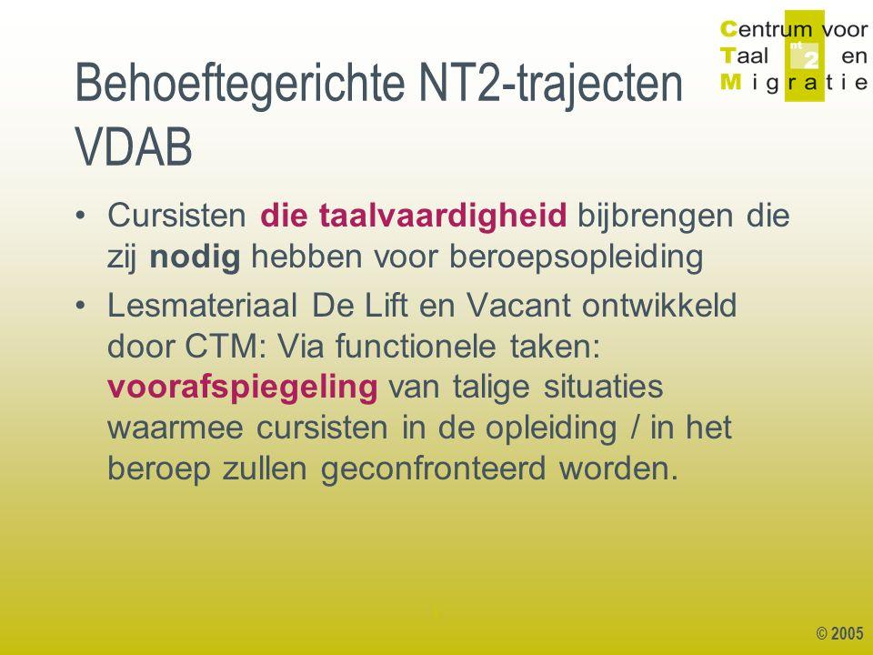 © 2005 1 KIEZEN : module beroeps- oriëntering NT2 secundaire sector: VACANT NT2 administratieve Sector: DE LIFT NT2 zorg: DUIZENPOOT BEROEPS- OPLEIDING Bv.