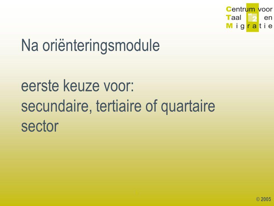 © 2005 1 Na oriënteringsmodule eerste keuze voor: secundaire, tertiaire of quartaire sector