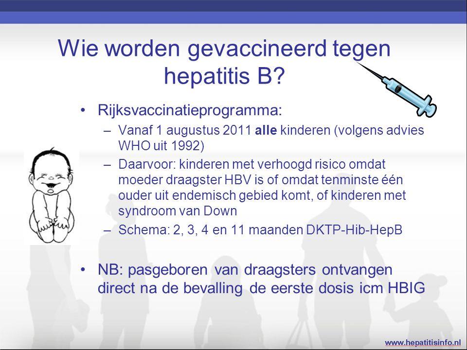 Wie worden gevaccineerd tegen hepatitis B.