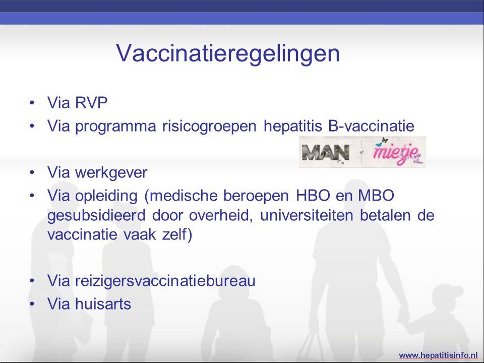 Vaccinatieregelingen Via RVP Via programma risicogroepen hepatitis B-vaccinatie Via werkgever Via opleiding (medische beroepen HBO en MBO gesubsidieerd door overheid, universiteiten betalen de vaccinatie vaak zelf) Via reizigersvaccinatiebureau Via huisarts