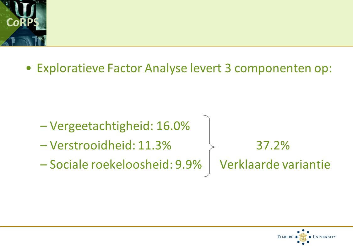 CoRPS Exploratieve Factor Analyse levert 3 componenten op: –Vergeetachtigheid: 16.0% –Verstrooidheid: 11.3% 37.2% –Sociale roekeloosheid: 9.9% Verklaarde variantie