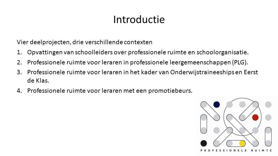Introductie Vier deelprojecten, drie verschillende contexten 1.Opvattingen van schoolleiders over professionele ruimte en schoolorganisatie.