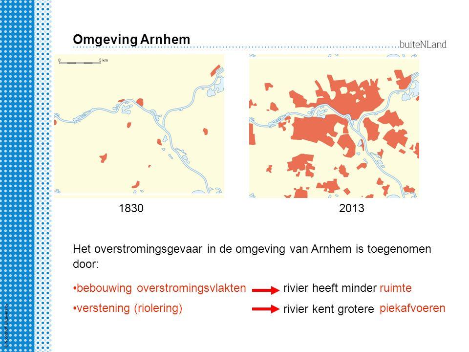 Omgeving Arnhem 18302013 Het overstromingsgevaar in de omgeving van Arnhem is toegenomen door: bebouwing overstromingsvlaktenrivier heeft minderruimte