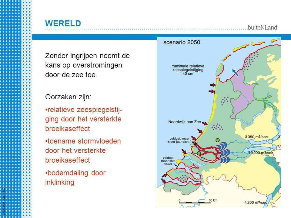 WERELD Zonder ingrijpen neemt de kans op overstromingen door de zee toe. Oorzaken zijn: relatieve zeespiegelstij- ging door het versterkte broeikaseff