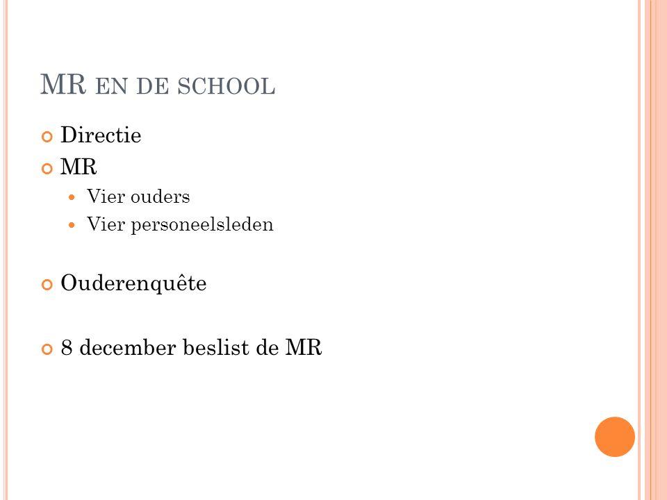 MR EN DE SCHOOL Directie MR Vier ouders Vier personeelsleden Ouderenquête 8 december beslist de MR