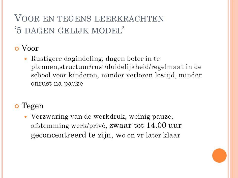 V OOR EN TEGENS LEERKRACHTEN '5 DAGEN GELIJK MODEL ' Voor Rustigere dagindeling, dagen beter in te plannen,structuur/rust/duidelijkheid/regelmaat in d