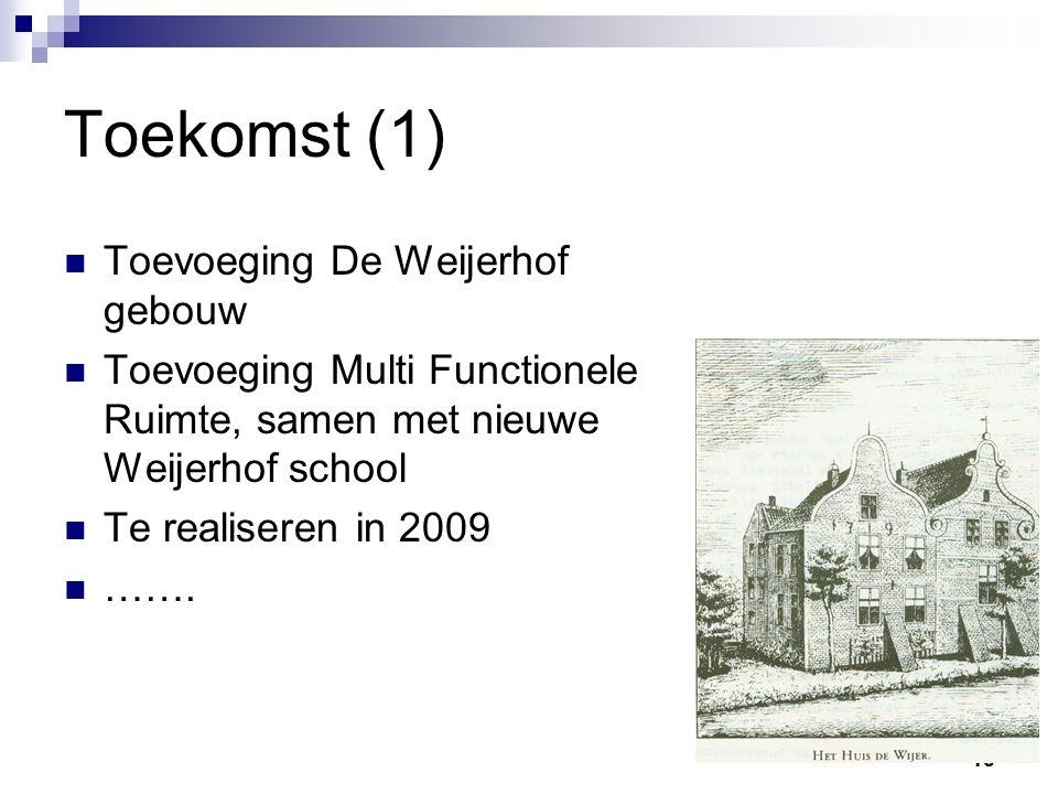 10 Toekomst (1) Toevoeging De Weijerhof gebouw Toevoeging Multi Functionele Ruimte, samen met nieuwe Weijerhof school Te realiseren in 2009 …….