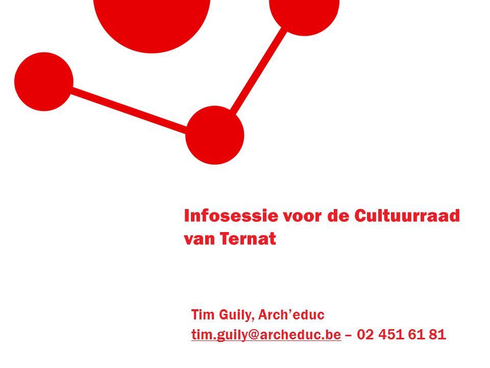 Infosessie voor de Cultuurraad van Ternat Tim Guily, Arch'educ tim.guily@archeduc.betim.guily@archeduc.be – 02 451 61 81
