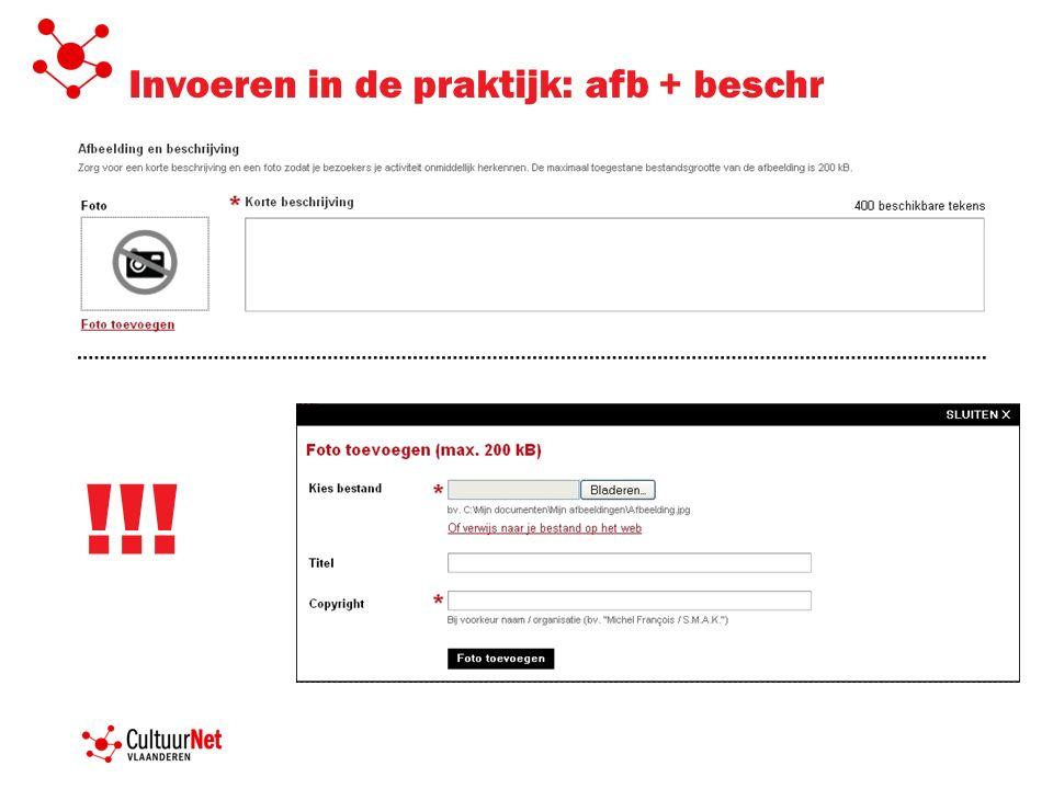 Invoeren in de praktijk: afb + beschr !!!