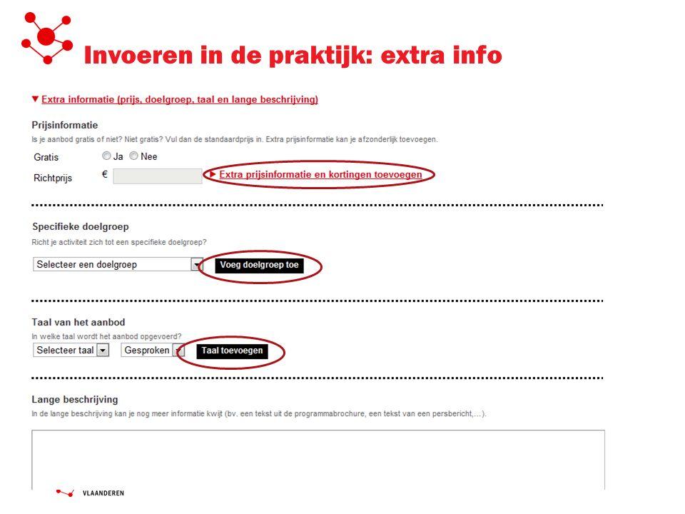 Invoeren in de praktijk: extra info