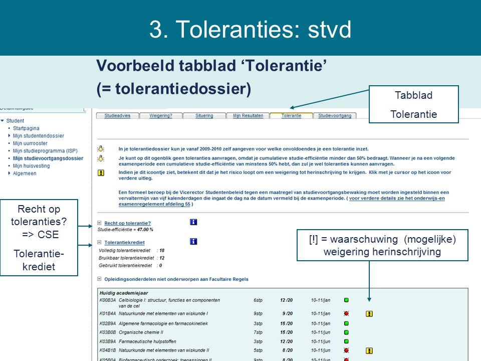 3. Toleranties: stvd Voorbeeld tabblad 'Tolerantie' (= tolerantiedossier) Tabblad Tolerantie Recht op toleranties? => CSE Tolerantie- krediet [!] = wa