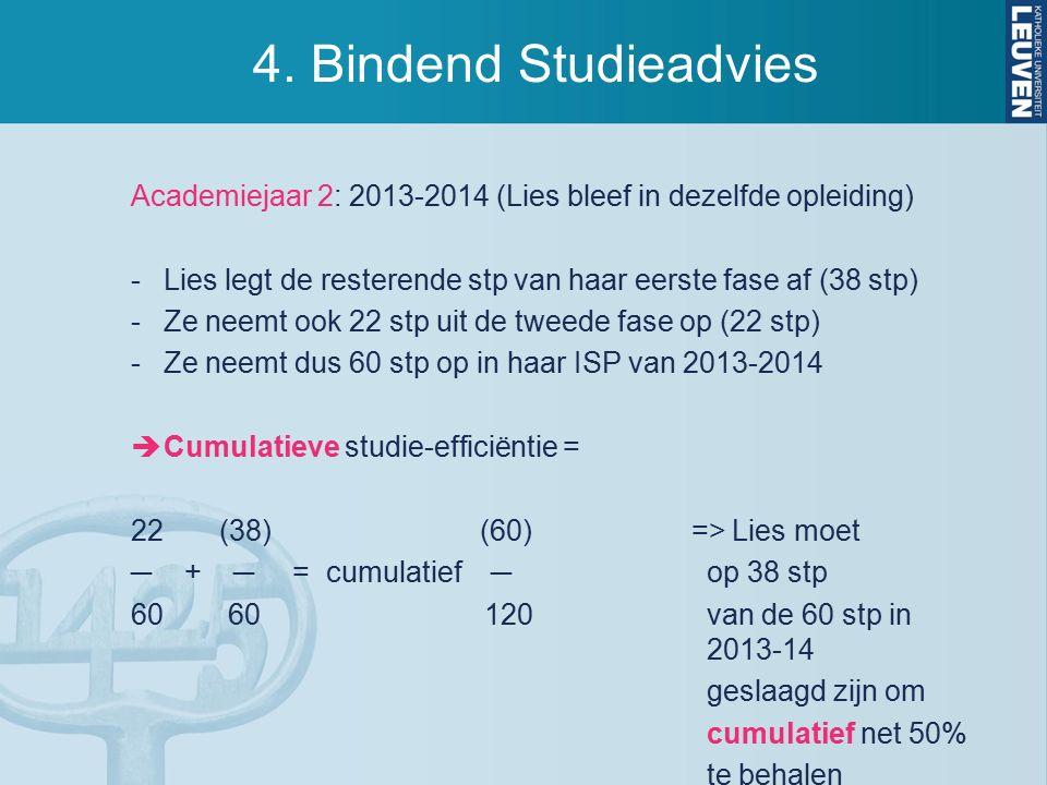 4. Bindend Studieadvies Academiejaar 2: 2013-2014 (Lies bleef in dezelfde opleiding) -Lies legt de resterende stp van haar eerste fase af (38 stp) -Ze