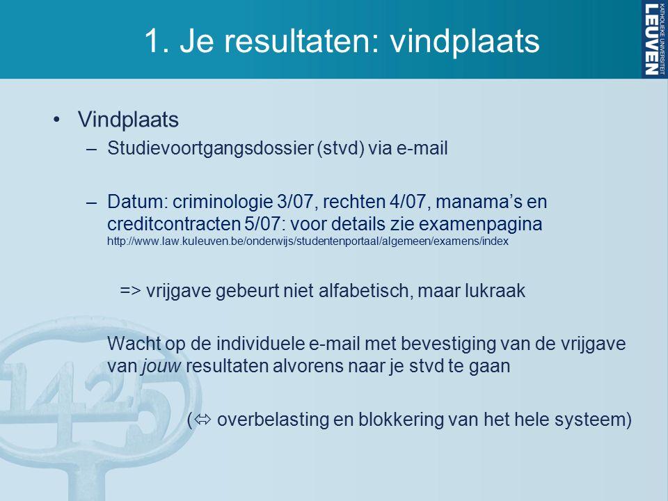 1. Je resultaten: vindplaats Vindplaats –Studievoortgangsdossier (stvd) via e-mail –Datum: criminologie 3/07, rechten 4/07, manama's en creditcontract