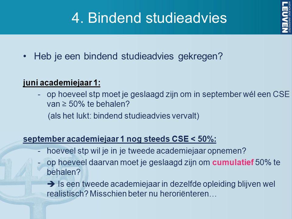 4. Bindend studieadvies Heb je een bindend studieadvies gekregen.